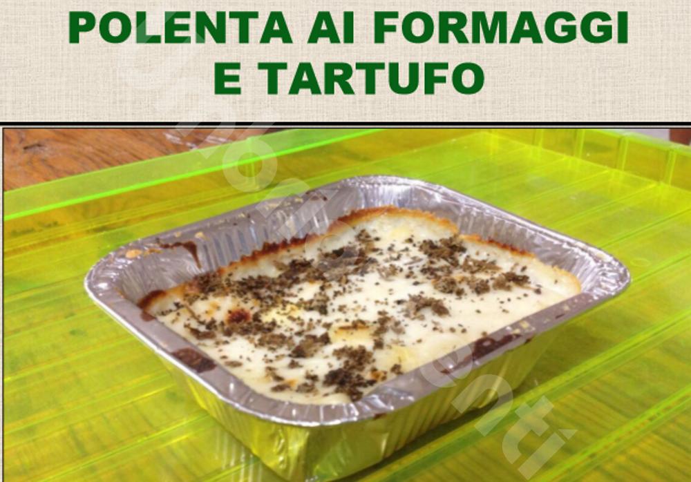 Polenta ai formaggi e tartufo, ripassata al forno con formaggi fusi e tartufo