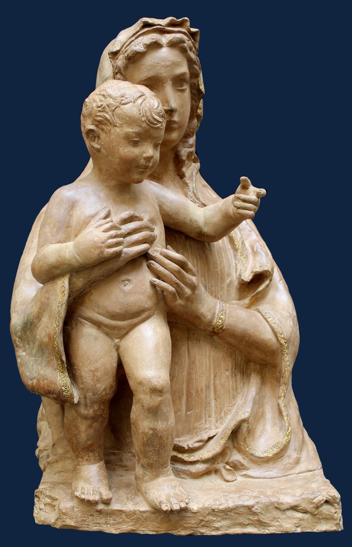 Assisi Antiquariato - Scultura scuola fiorentina XV sec. in terracotta e foglia oro (Ars Antiqua Milano)