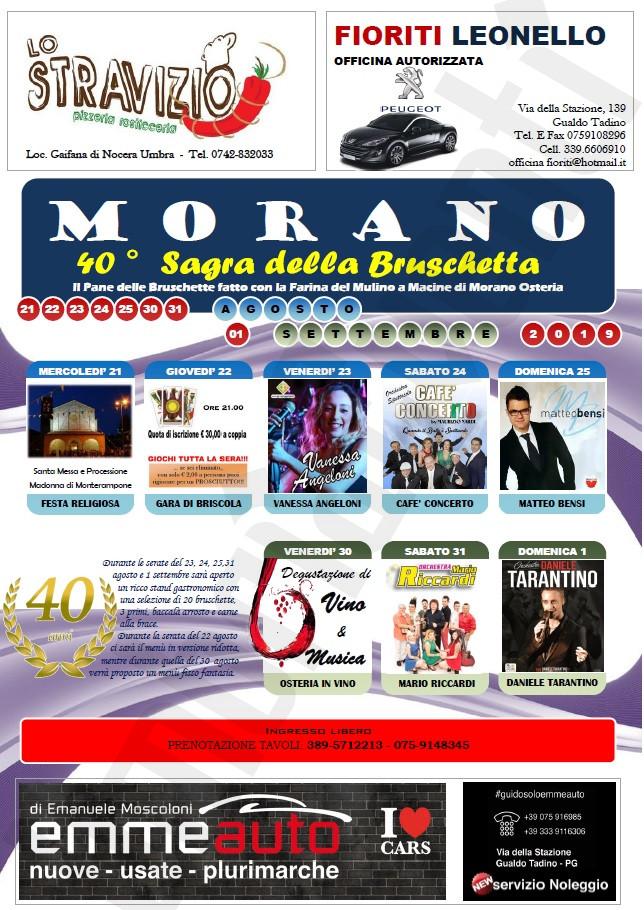 Daniele Tarantino Calendario Serate.Sagra Della Bruschetta 2019 A Morano Di Gualdo Tadino