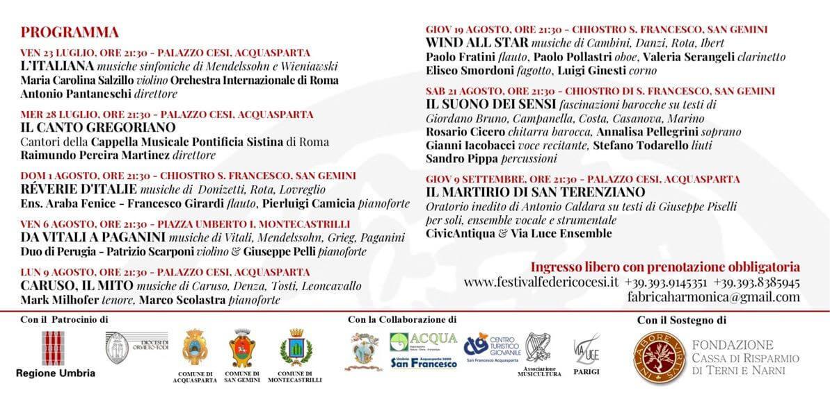 Programma Festival Federico Cesi