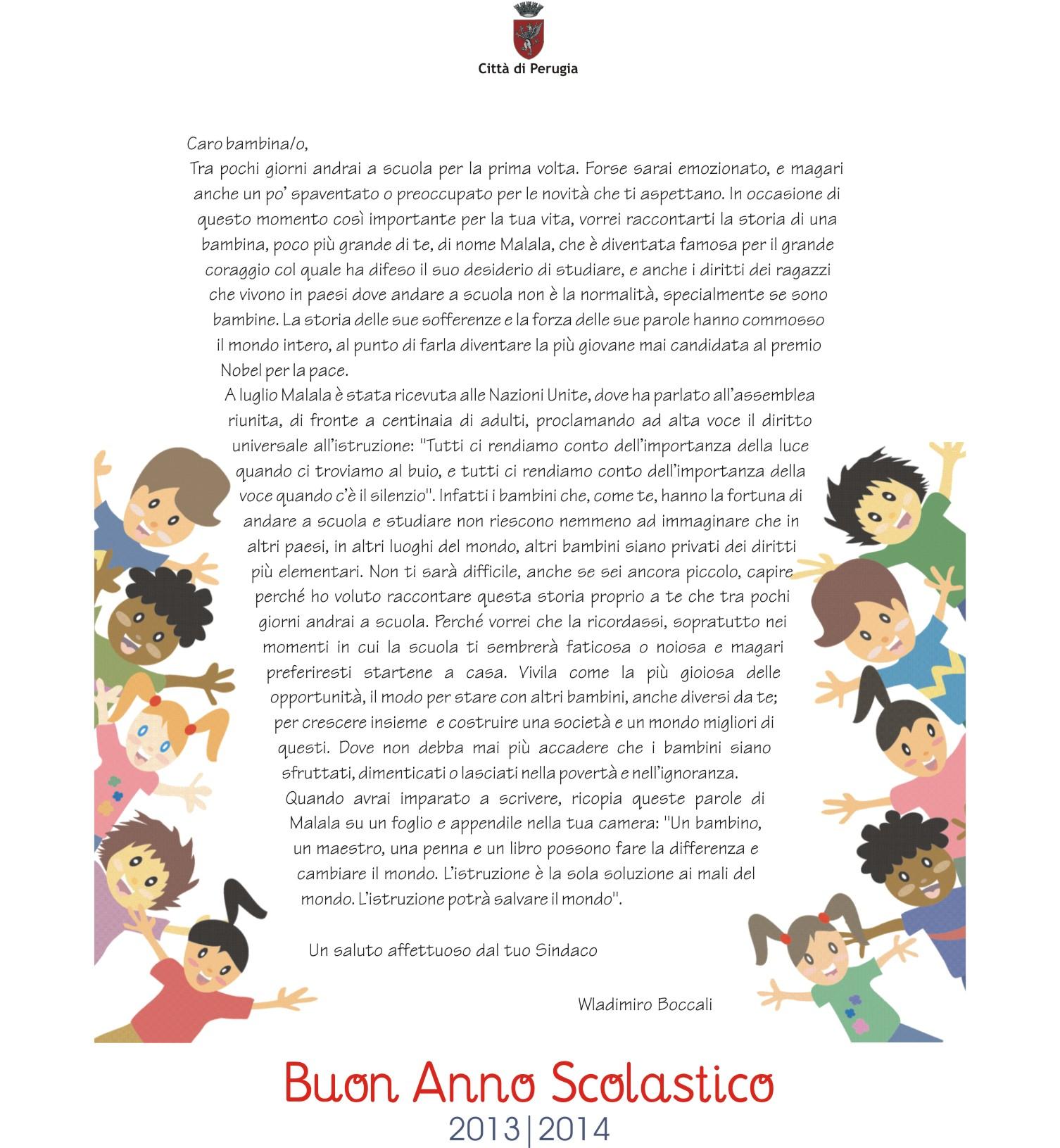 Lettera ai bambini di prima elementare - Sindaco della città di Perugia